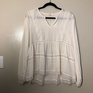 White Sheer Long Sleeve Blouse with Lace by Gap